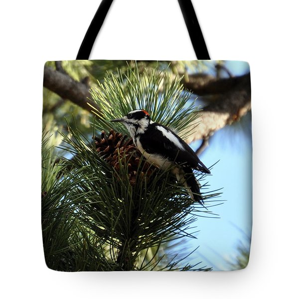 Hairy Woodpecker On Pine Cone Tote Bag