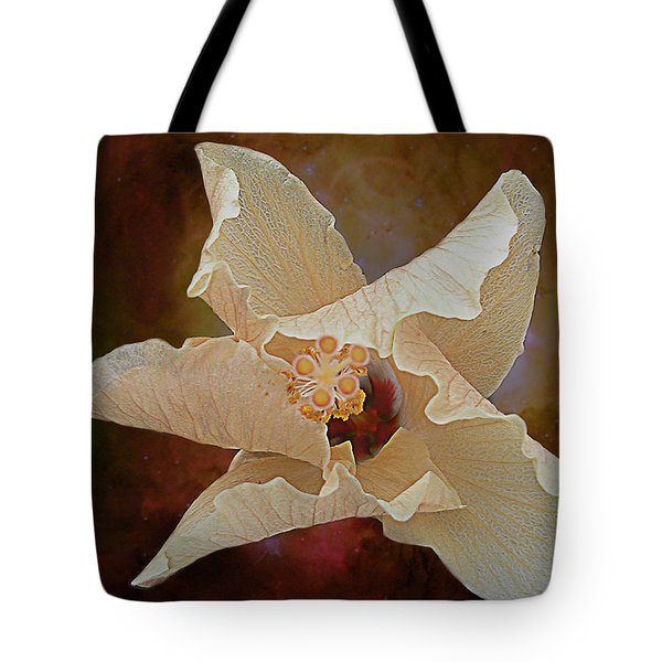 Hibiscus Floats In Space Tote Bag by Barbara Middleton