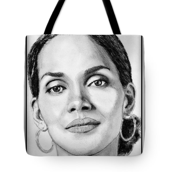 Tote Bag featuring the drawing Halle Berry In 2008 by J McCombie