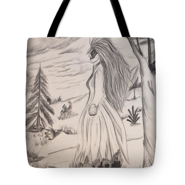 Tote Bag featuring the drawing Halloween Witch Walk by Maria Urso