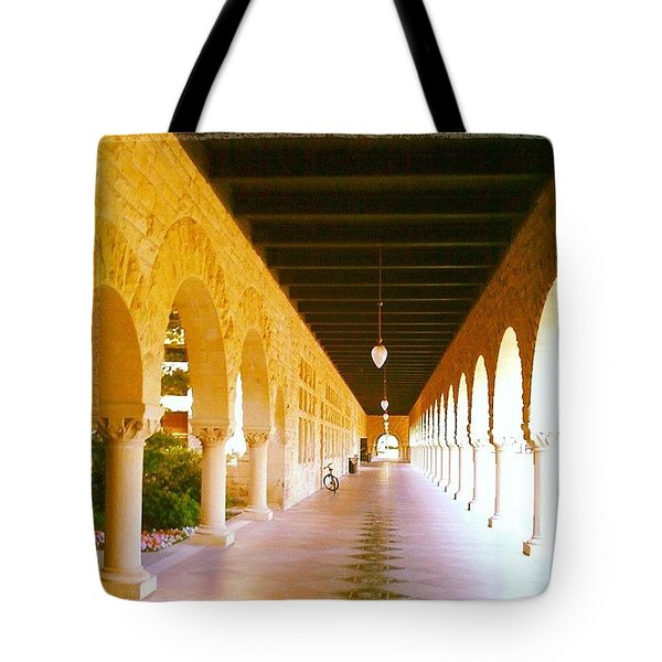 Halls Of Learning - Stanford University Tote Bag by Anna Porter