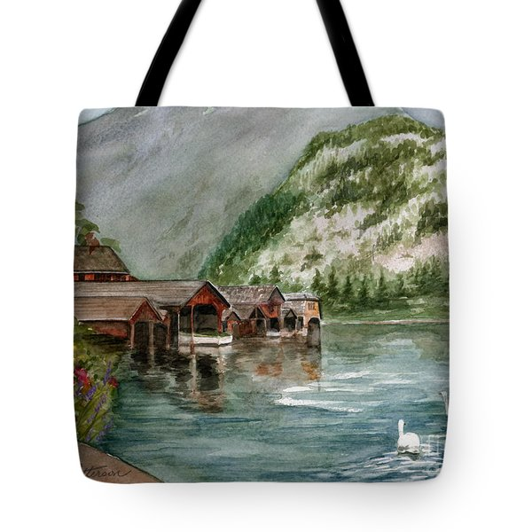 Tote Bag featuring the painting Hallstatt In The Spring  by Nancy Patterson