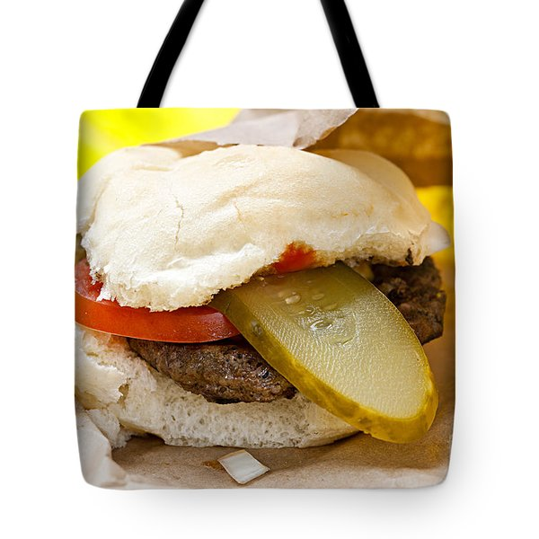 Hamburger With Pickle And Tomato Tote Bag