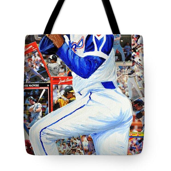 Hammering Hank Aaron Tote Bag by Michael Lee