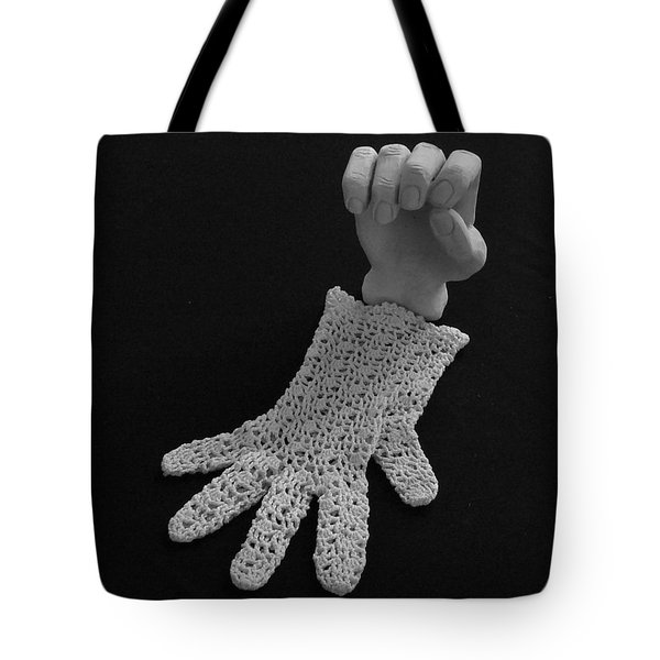 Tote Bag featuring the sculpture Hand And Glove by Barbara St Jean