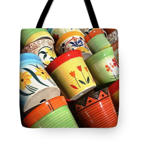 Hand Decorated Flower Pots Tote Bag