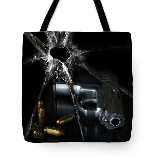 Handgun Bullets And Bullet Hole Tote Bag by Jill Battaglia