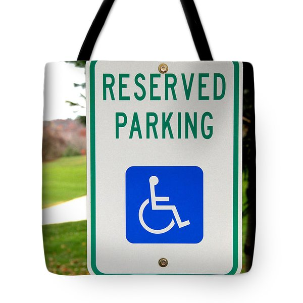 Handicapped Parking Sign Tote Bag by Photo Researchers