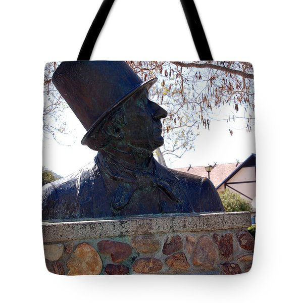 Hans Christian Andersen Statue In The Park In Solvang California Tote Bag by Susanne Van Hulst