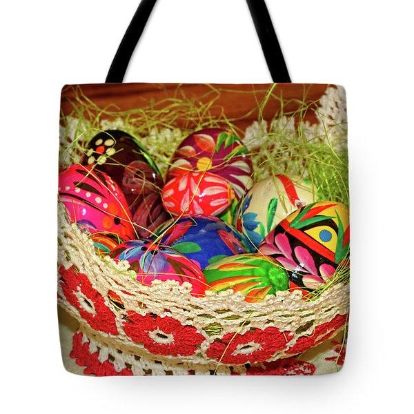 Happy Easter Basket Tote Bag by Mariola Bitner