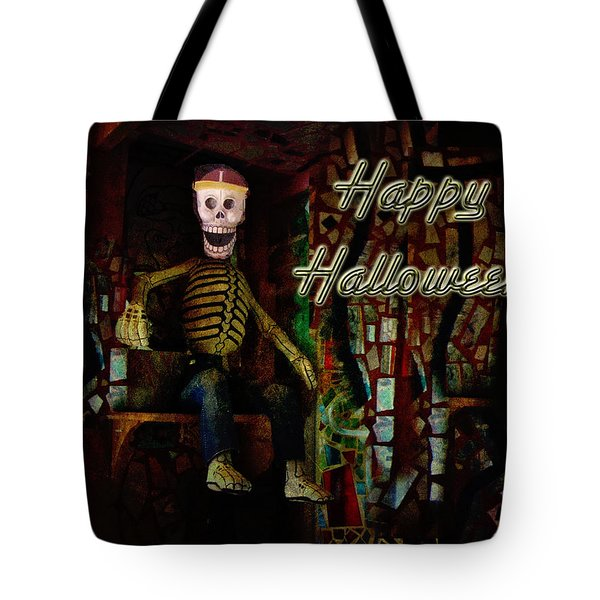 Happy Halloween Skeleton Greeting Card Tote Bag by Mother Nature