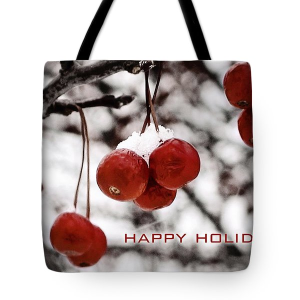 Happy Holidays Berries Tote Bag