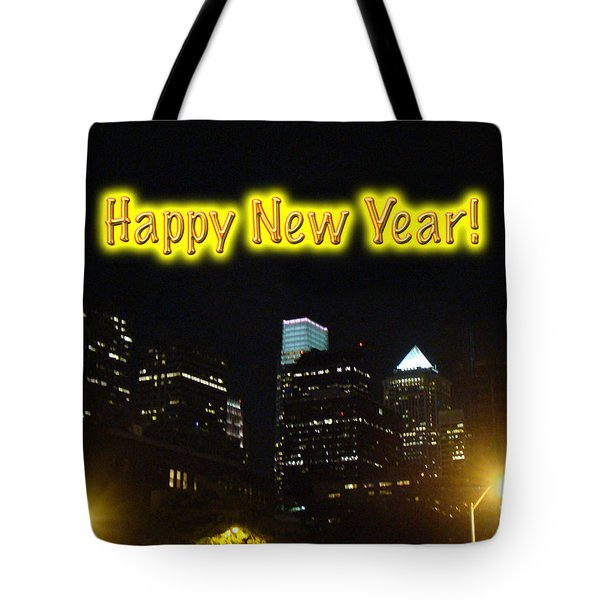 Happy New Year Greeting Card - Philadelphia At Night Tote Bag by Mother Nature