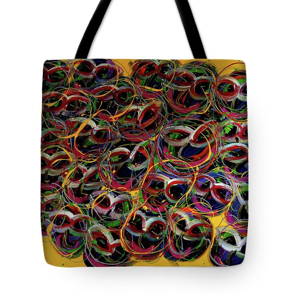 Happy Smiling Faces Tote Bag by Karen Elzinga