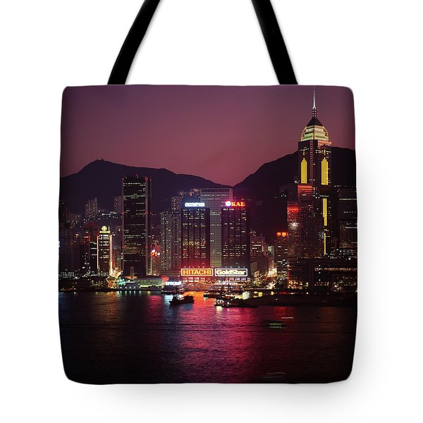 Harbour View At Night Tote Bag by Axiom Photographic