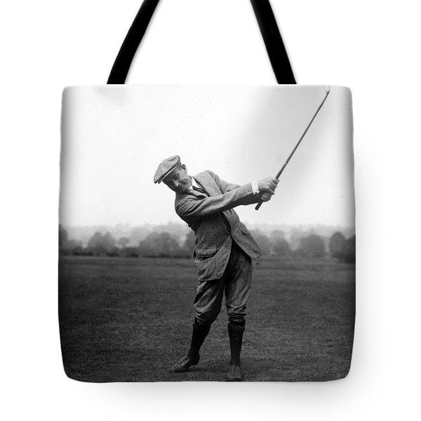Harry Vardon Swinging His Golf Club Tote Bag by International  Images
