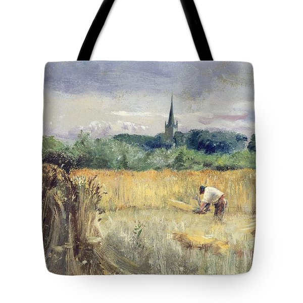 Harvest Field At Stratford Upon Avon Tote Bag by John William Inchbold