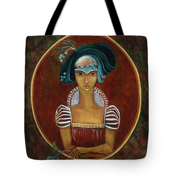 Hat Dream Fantasy Woman Face With Dramatic  Blue Hat Old Style Red Dress With White Lace Sleeves  Tote Bag by Rachel Hershkovitz