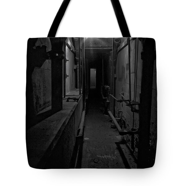 Haunted 1946 Battle Of Alcatraz Death Chamber Tote Bag by Daniel Hagerman