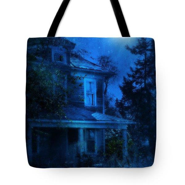Haunted House Full Moon Tote Bag by Jill Battaglia