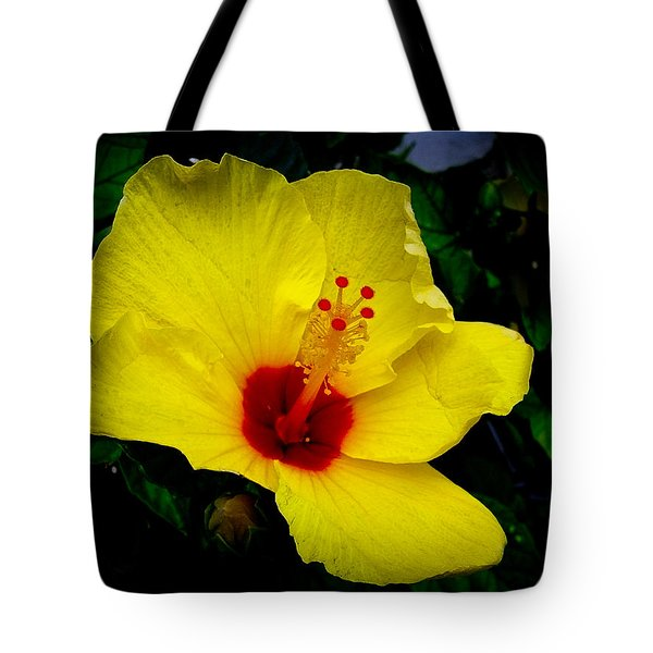 Tote Bag featuring the photograph Hawaiian Yellow Hibiscus by Athena Mckinzie