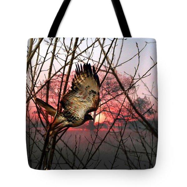 Hawk At. Sunrise Tote Bag by Marty Koch