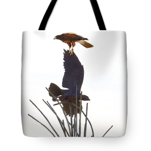 Tote Bag featuring the photograph Hawk On Statue by Rebecca Margraf