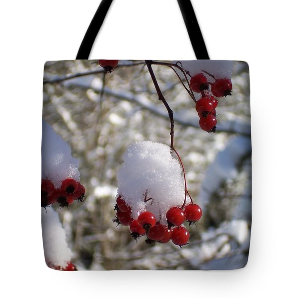 Hawthorn Berries In The Snow Tote Bag by Peter Mooyman