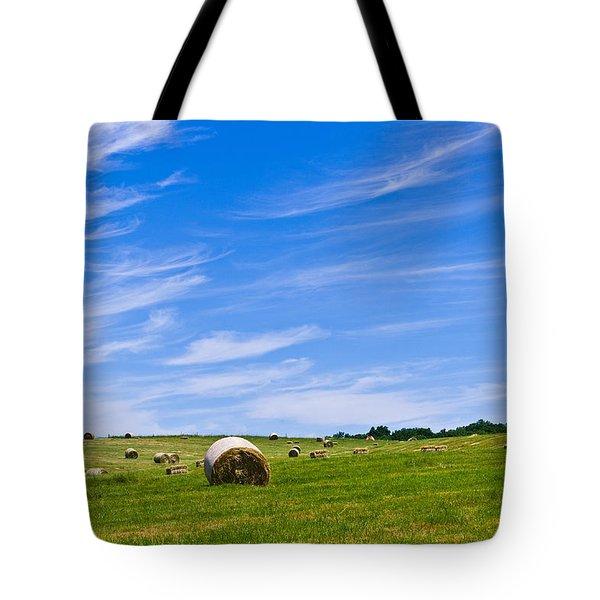 Hay Bales Under Brilliant Blue Sky Tote Bag