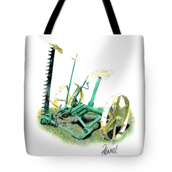 Tote Bag featuring the painting Hay Cutter by Ferrel Cordle