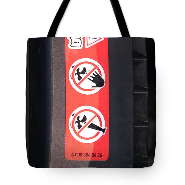 Hazard Warning Sticker Tote Bag by Photo Researchers