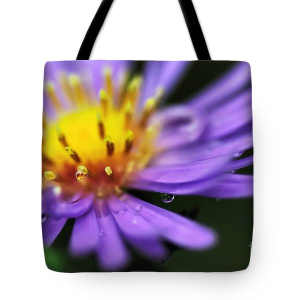 Hazy Daisy... With Droplets Tote Bag by Kaye Menner