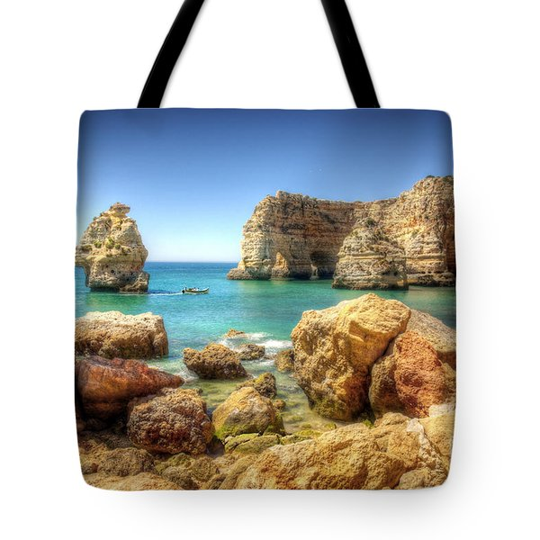 Hdr Rocky Coast Tote Bag by Carlos Caetano