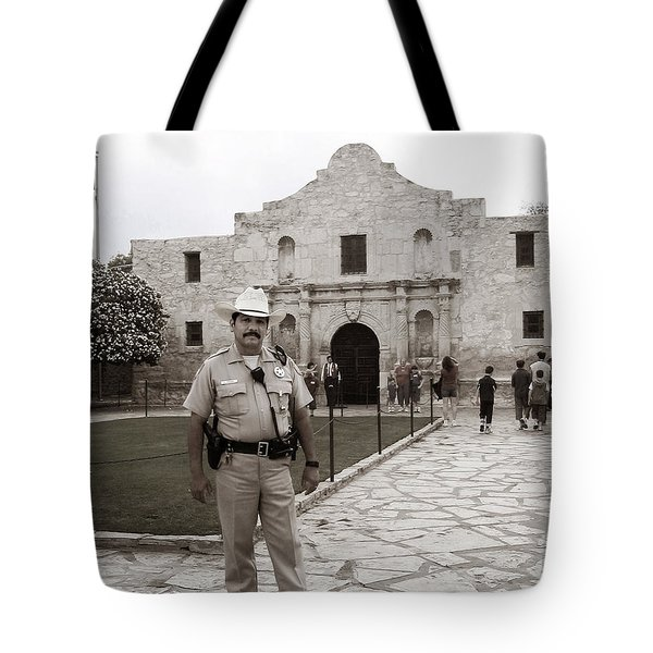 Tote Bag featuring the photograph He Guards The Alamo by Lorraine Devon Wilke