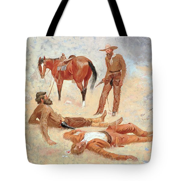 He Lay Where He Had Been Jerked Still As A Log  Tote Bag by Frederic Remington