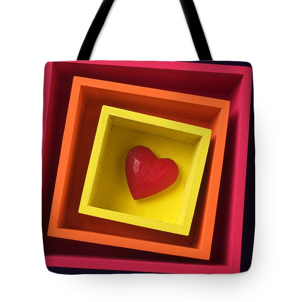 Heart In Boxes  Tote Bag by Garry Gay
