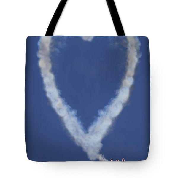 Heart Shape Smoke And Plane Tote Bag by Garry Gay