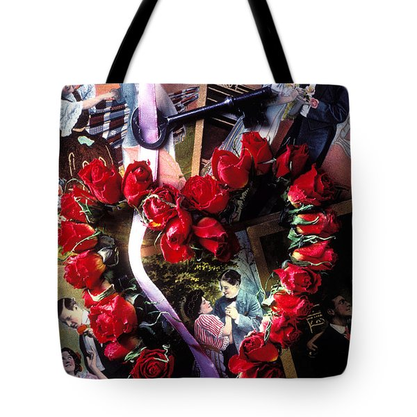 Heart Shaped Roses And Old Postcards Tote Bag