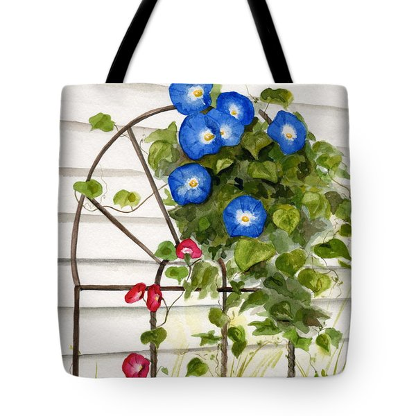 Tote Bag featuring the painting Heavenly Blues by Nancy Patterson