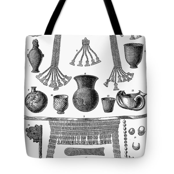 Heinrich Schliemann (1822-1890). German Traveller And Archeologist. Some Of The Antiquities Excavated By Schliemann At Hissarlick, Turkey, Site Of Ancient Troy. Wood Engraving, English, 1877 Tote Bag by Granger