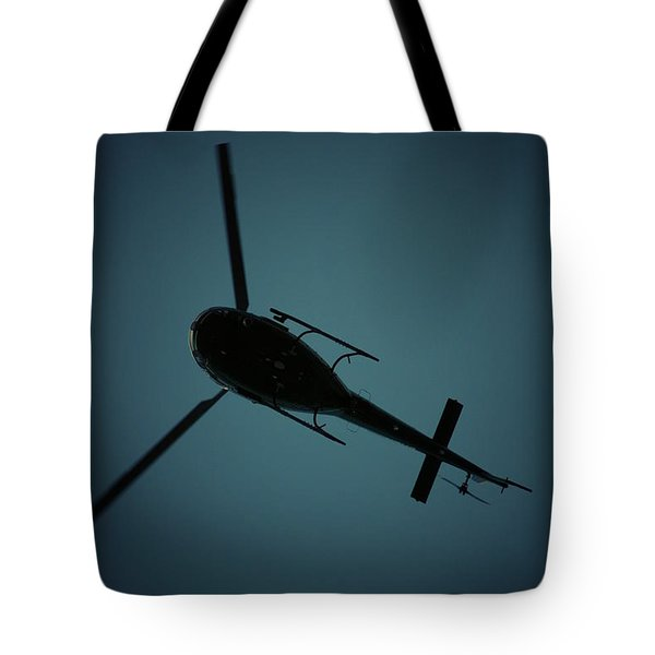 Helicopter Silhouette Tote Bag
