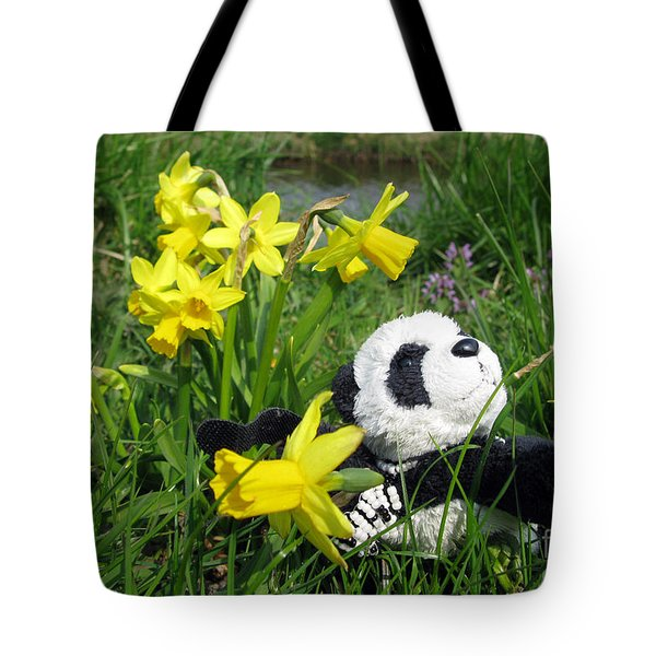 Hello Spring. Ginny From Travelling Pandas Series. Tote Bag by Ausra Huntington nee Paulauskaite