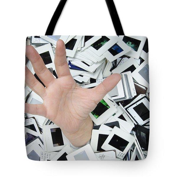 Help - Too Many Slides Tote Bag by Matthias Hauser