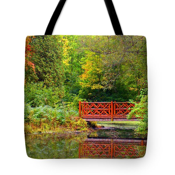 Henes Park Pond Bridge Tote Bag