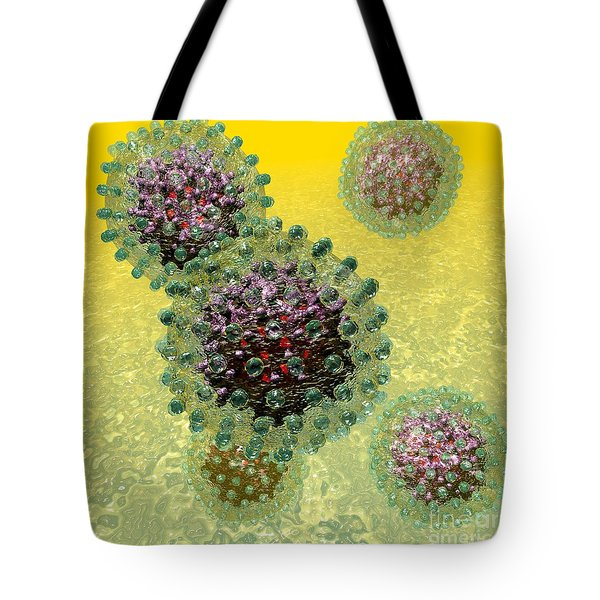 Hepatitis B Virus Particles Tote Bag by Russell Kightley