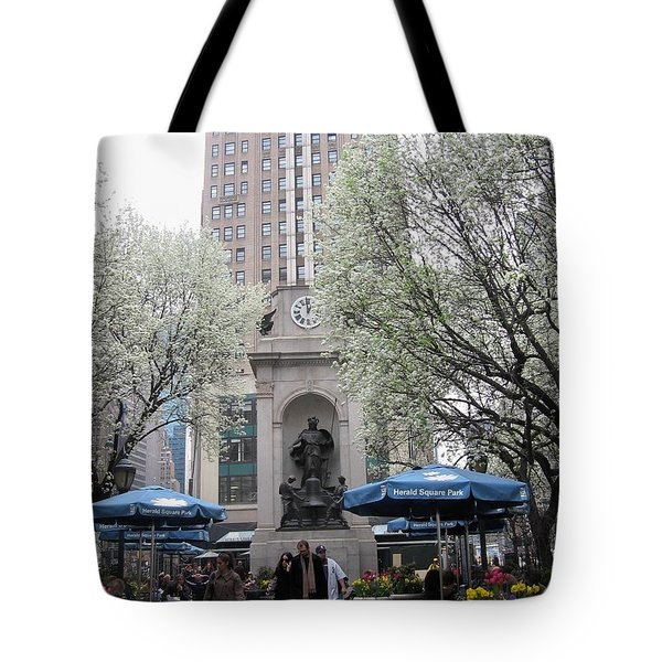Tote Bag featuring the photograph Herald Square by Dora Sofia Caputo Photographic Art and Design
