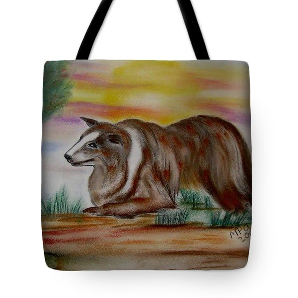 Tote Bag featuring the drawing Herding Collie by Maria Urso