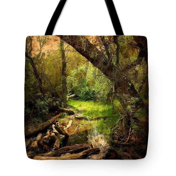 Here There Be Gnomes Tote Bag by Leah Moore