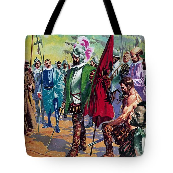 Hernando Cortes Arriving In Mexico In 1519 Tote Bag by English School