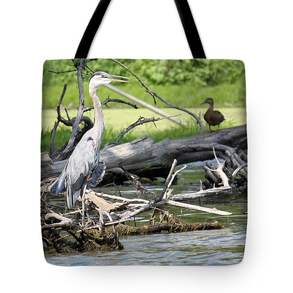 Tote Bag featuring the photograph Heron And Mallard by Debbie Hart